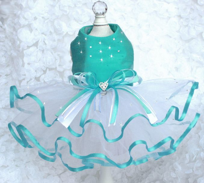 Custom silk dog dress clothes tutu with lots of Swarovski bling! gorgeous! Tinkerbell's Closet dog boutique