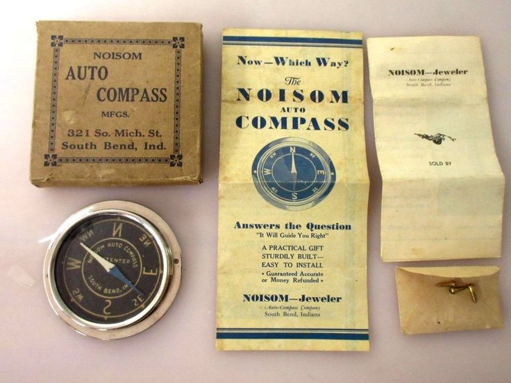 Vintage 1920s Noisom Auto Compass Automobile Accessory w/Box Instructions Screws  | eBay