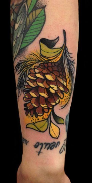 Pinecone #tattoo by Giulia Bongiovanni