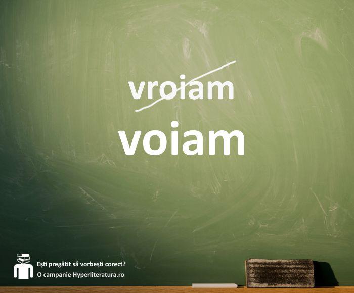"""Corect este """"eu voiam"""", nu """"eu vroiam"""".   """"Eu vroiam"""" nu există, este o combinație greșită dintre verbul """"a voi"""" și """"a vrea"""". La imperfect, corect este """"eu voiam"""" (de la """"a voi) sau """"eu vream"""" (de la """"a vrea"""")."""