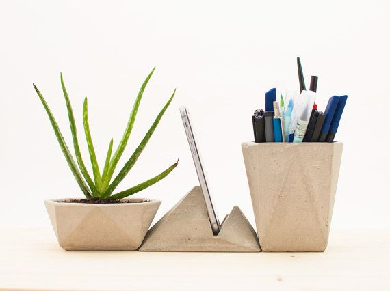 Modern desk accessories concrete desk by CraftedbyOitenta on Etsy