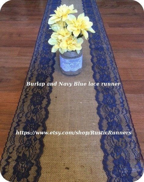 Rustic Country Charm Wedding Burlap and Navy Blue by RusticRunners