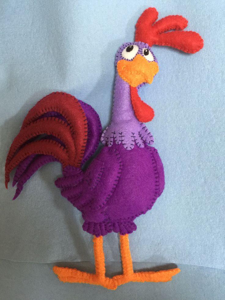 Lottie Dottie Chicken Purple Rooster (Hand-made with felt)