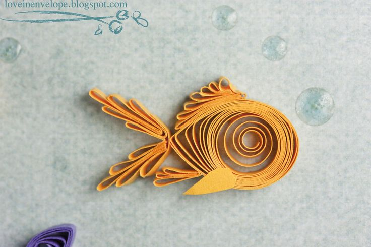 Love in Envelope: Fish You a Happy Birthday Quilled Goldfish and Underwater Floral Decor
