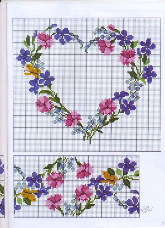 Cross-stitch Floral Heart & Border, part 2..  color chart on part 1...    Gallery.ru / Фото #11 - 2 - kento
