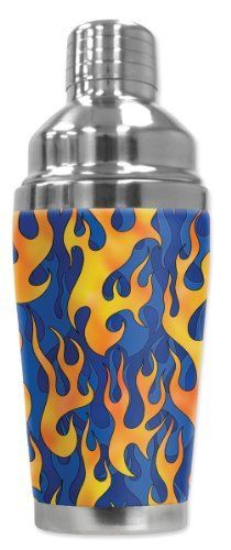 Mugzie® brand 16-Ounce Cocktail Shaker with Insulated Wetsuit Cover - Blue Flames by Art Plates. $25.95. 16 Oz Stainless Steel Cocktail Shaker covered with water-proof, neoprene wetsuit material.. Patent Pending. Truly unique. Over 300 different designs. Made in the USA. FREE SHIPPING.. Hand-sewn fabric cover is made from 1/4 inch closed-cell neoprene that is covered with soft, water-proof polyester fabric.. Cushioned cover affords a secure grip and eliminates conden...