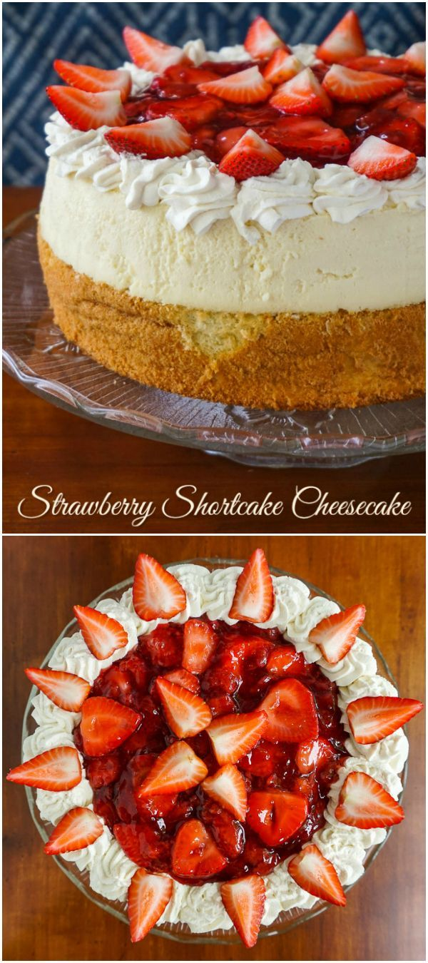 Strawberry Shortcake Cheesecake – An ultimate strawberry dessert! A baked vanilla cheesecake sits atop a light buttery cake then topped with a strawberry filling and whipped cream.