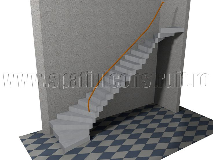 Staircases: general concepts & classifications/ Scari: notiuni generale, clasificari >> Quarter turn staircase with winder/ Rampa dreapta cu trepte balansate