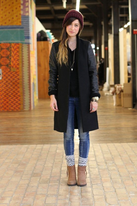 Try slouching a thick pair of socks over super-skinny jeans and finishing off the look with a cool pair of ankle boots.