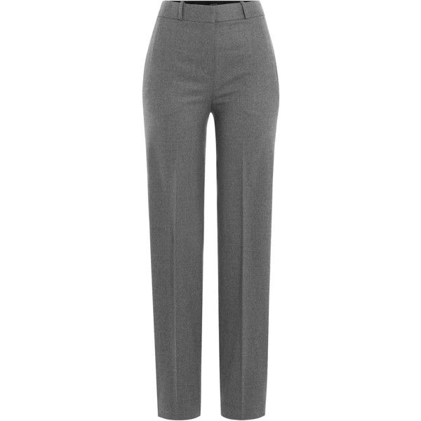 Theory Wool Trousers ($300) ❤ liked on Polyvore featuring pants, grey, wool trousers, high-waisted pants, stretch pants, high rise pants and theory pants
