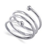 Sterling Silver 10mm Wide Dazzling Spiral Band Polished Finish Ring |