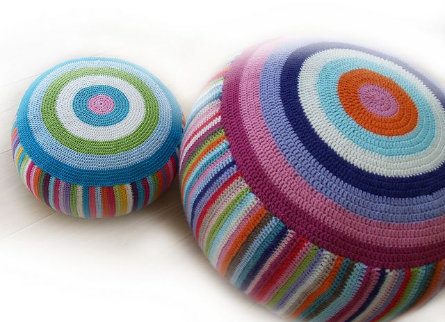 Crocheted floor poufs by as_art_up on Flickr