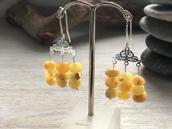 Amber earrings, Long amber earrings, Royal White Amber Earrings, Boho Amber Earrings, Amber Jewelry, Natural amber earrings