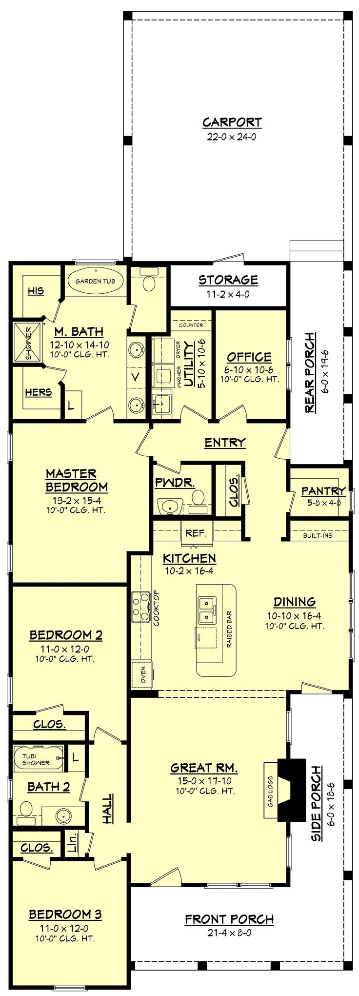 Farmhouse Style House Plan - 3 Beds 2.5 Baths 1825 Sq/Ft Plan #430-86 Main Floor Plan - Houseplans.com