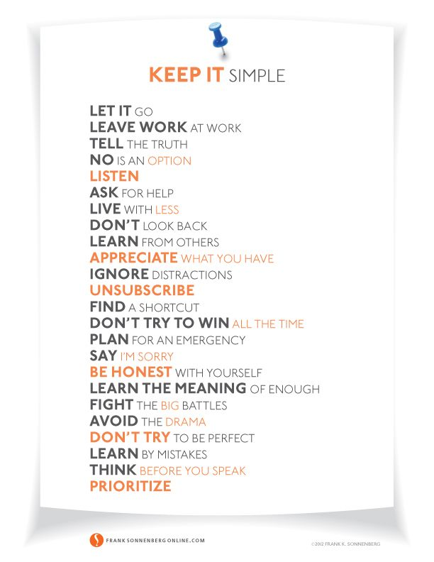 24 Ways to Simplify Your Life   Values to Live By   www.FrankSonnenbergOnline.com