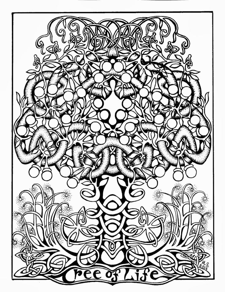 paste and color the tree of life coloring page some celtic fun tree of lifebw