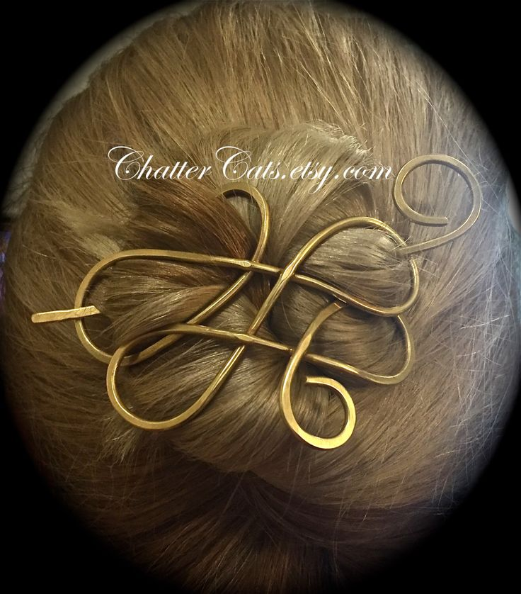 Celtic Copper Brass Metal Hair Clip Barrette, Hair Jewelry, Hair Clip, Hair Pin, Hair Stick, Scarf Pin, Wedding Hair Accessory by ChatterCats on Etsy https://www.etsy.com/listing/257137768/celtic-copper-brass-metal-hair-clip