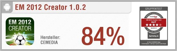 """App-Test: EM 2012 Creator - Mit der Android-App """"EM 2012 Creator"""" erhält der Benutzer Echtzeit-Ergebnisse, Spielpläne und Tabellen der Fußball-Europameisterschaft 2012. Des Weiteren besitzt er die Möglichkeit, die Ergebnisse von Partien zu tippen und kann so herausfinden, wer bei welchem Ergebnis die K.O.-Runde erreichen würde. Weitere Infos auf unserem Portal: http://www.apptesting.de/"""