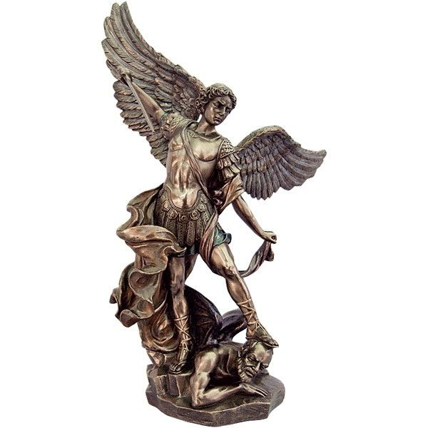 """ST. MICHAEL THE ARCHANGEL - 8"""" Veronese Collection Made of resin and dipped in bronze with lightly, hand-painted accents. Boxed  A beautiful rendition of St. Michael the Archangel, great defender of the Catholic Church. He is shown in complete battle armor triumphant over Satan. Available in a variety of sizes, add to the cart or wish list above."""