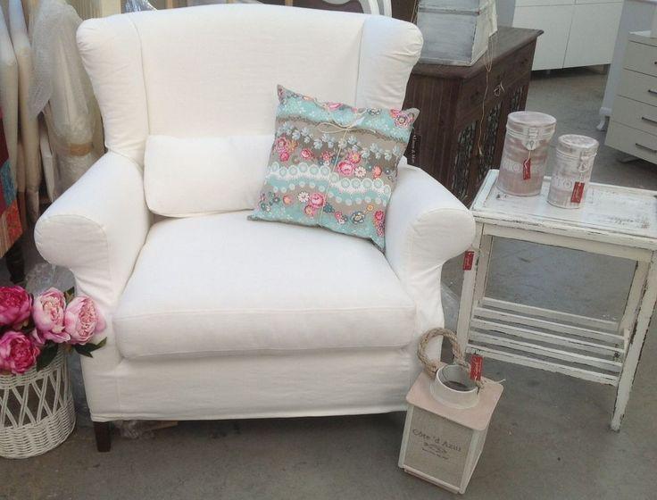 xxl ohrensessel mit husse sessel wei neu shabby chic. Black Bedroom Furniture Sets. Home Design Ideas