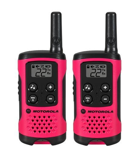 2 Pack 16 Mile Range Neon Pink Radios T107 Neon Pink Alkaline 2-Way Radio Twin Pack Simple, compact and easy-to-use by the entire family, the T100 is the perfect way to stay in touch when out and abou