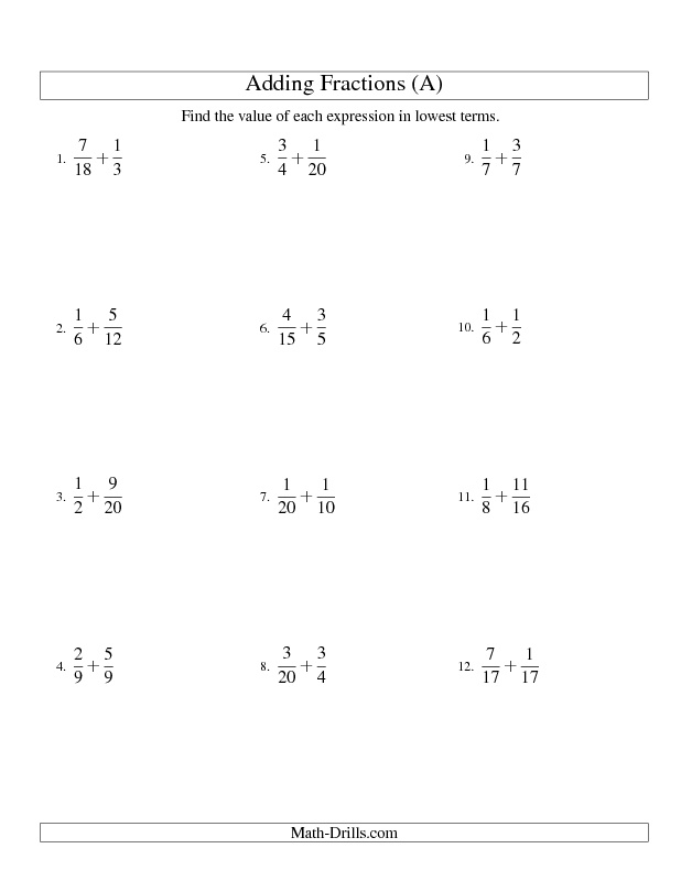 Worksheet Common Denominator Worksheets 1000 images about printable math worksheets on pinterest fractions worksheet adding with easy to find common denominators all