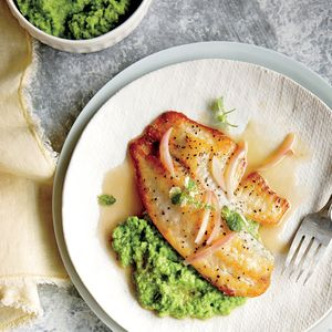 Dine In for Fresh Seafood   Pan-Seared Tilapia with Sweet Pea Puree    MyRecipes