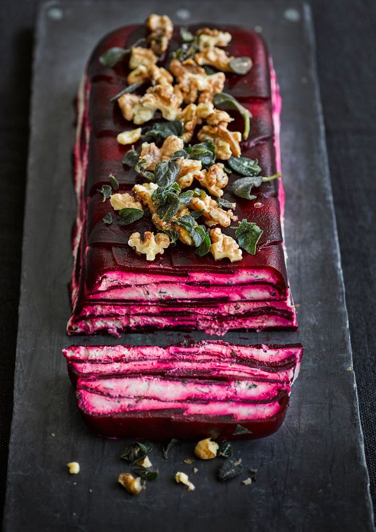 Use our easy step by step picture guide to make this eye-catching, meat-free starter for a crowd, topped with candied walnuts and crisp herbs.