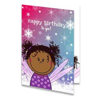 Een verjaardagskaart voor een kind met een fee met zwart haar. Boven de fee staat de tekst ''Happy Birthday to you!'' in witte letters. De achtergrond is roze, paars en blauw met witte sneeuwvlokjes. Aan de binnenkant van de verjaardagskaart is de achtergrond hetzelfde. Rechts is de achtergrondkleur wit met de fee en de tekst ''Happy Birthday'' in paarse letters.