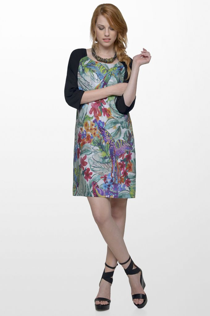 Sarah Lawrence - 3/4 sleeve printed dress with combination of solid fabric.