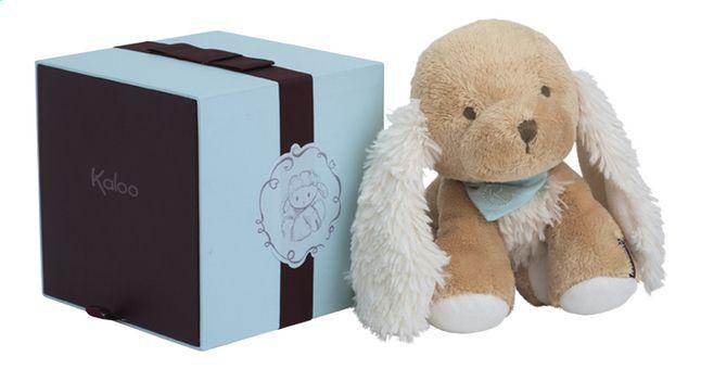 Qui se cache dans cette jolie boîte? C'est Caramel, le mignon petit chien Les Amis de Kaloo. Joyeux anniversaire, Bébé!