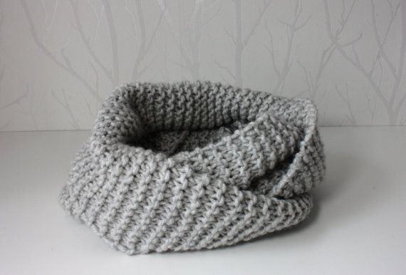 Hand knitted colw infinity scarf chunky grey cowl by CreamKnit