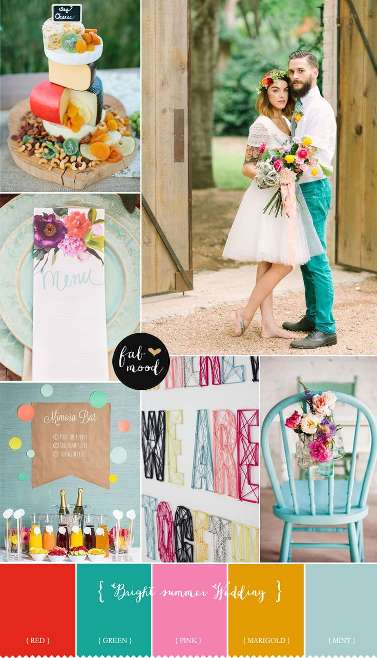 Choosing your wedding colour scheme - Bright Summer Wedding Colours { Aurora + pink + yellow + mint and Bright green } | fabmood.com: