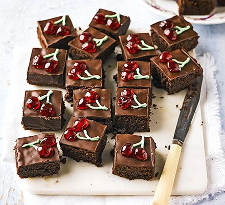 These easy-to-make, fudgy brownies, complete with retro decoration, marry a much-loved flavour pairing of cherry and chocolate