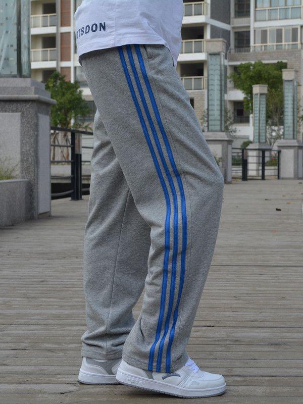 Весенний и осенний сезон. мужской случайный движение брюки прямо большой двор жировой вязание брюки тонкая модель маленький корейский брюки сын волна - Таобао Украина