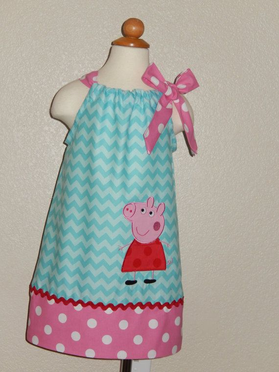 Peppa Pig  Aqua Chevron Pillowcase Dress by Just4Princess on Etsy, $30.00