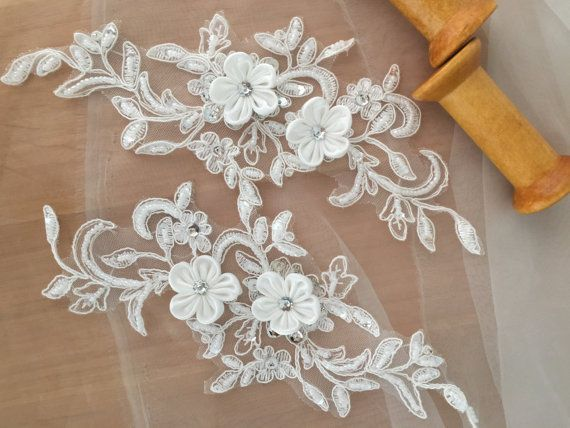 One Pair Beaded Lace Applique for Wedding decor bridal by lacetime