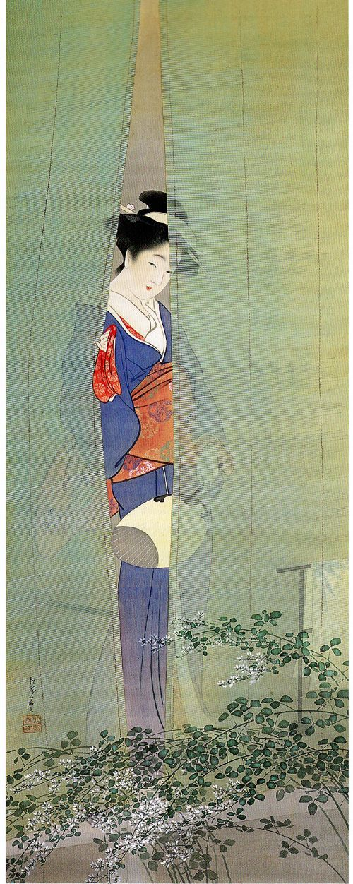 .:. Uemura Shōen    Uemura Shōen (上村 松園?, April 23, 1875 – August 27, 1949) was the pseudonym of an important woman artist in Meiji, Taishō and early Shōwa period Japanese painting. Her real name was Uemura Tsune. Shōen was known primarily for her bijinga paintings of beautiful women in the nihonga style, although she also produced numerous works on historical themes and traditional subjects. Shōen was born in Shimogyō-ku, Kyoto, as the second daughter of a tea merchant. ...