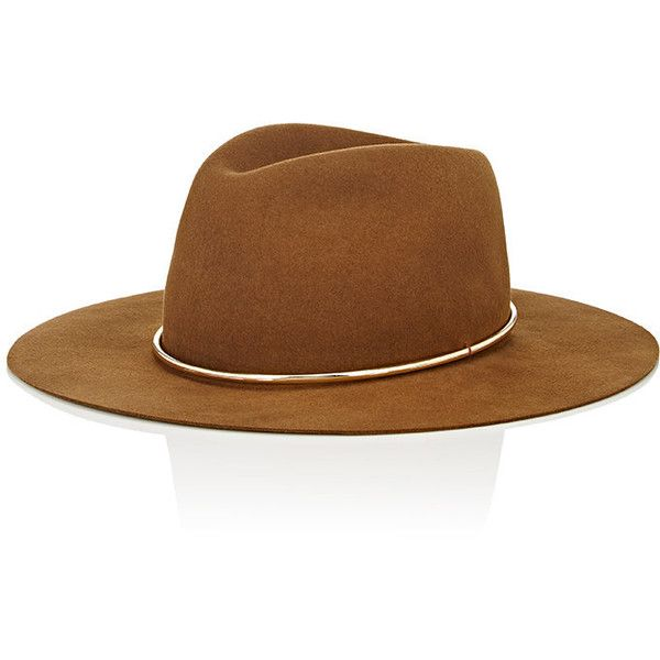 Janessa Leone Women's Savory Wide-Brim Wool Fedora (890 PLN) ❤ liked on Polyvore featuring accessories, hats, brown, wide brim fedora, brimmed hat, wide brim hats, brown fedora hat and brown fedora