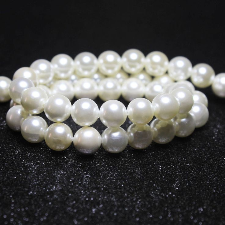 Wholesale Round Shell Made Simulated Pearl  Beads For jewelry Making 4/ 5/6/8/10/12/14 mm DIY  Bracelet Necklace Strand 15.5'' #Affiliate