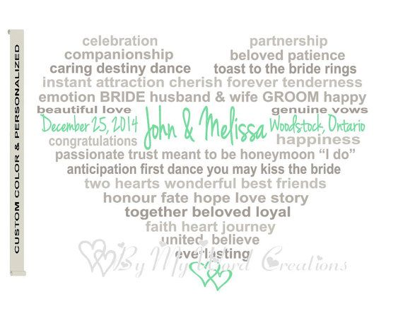Personalized Wedding Gift Art Print Wedding by ByMyWordCreations