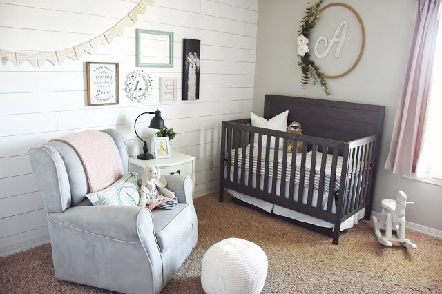 Baby Girl S Farmhouse Nursery With Shiplap White Gray And