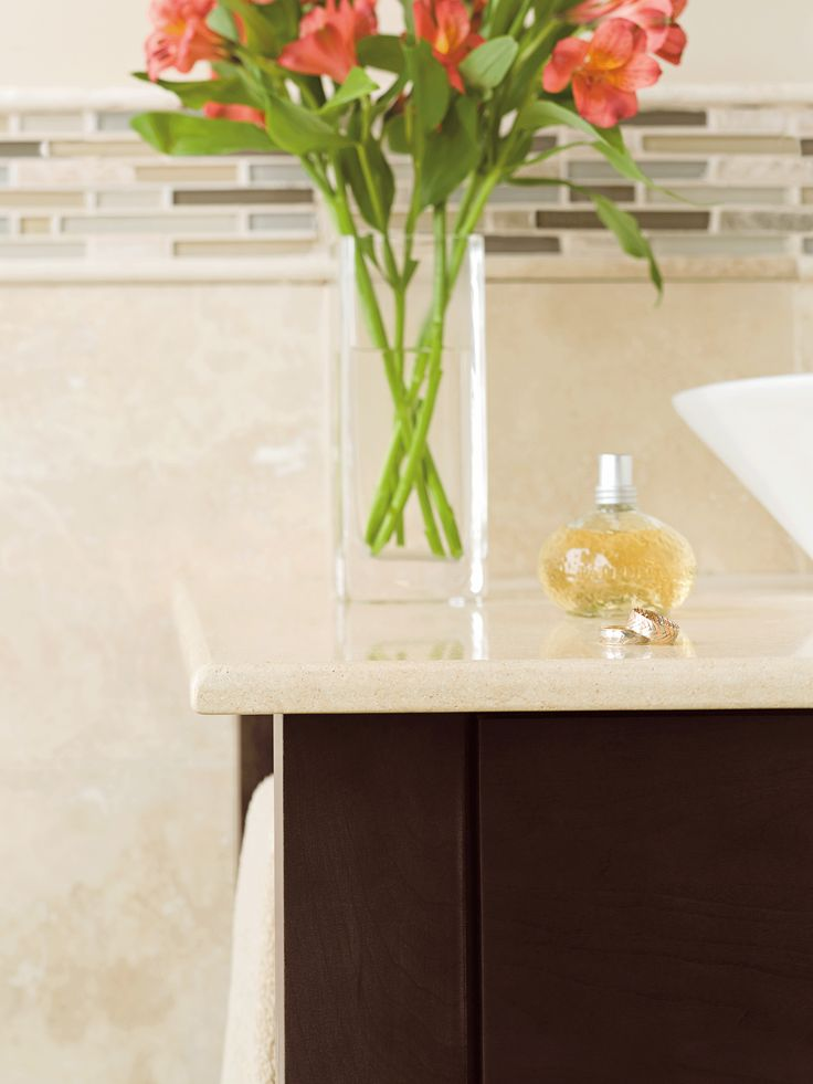 Pics On Keep your bathroom sleek and simple with the Homestead Maple vanity cabinet in a Truffle finish by Omega Cabinetry