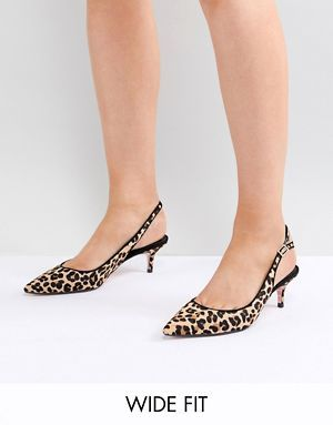 19e5309cc73 Dune Wide Fit Casandra Faux Leopard Slingback Kitten Heeled Shoes ...