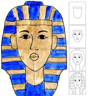 For M's fascination with Egypt and mummies phase. Art Projects for Kids: How to Draw King Tut