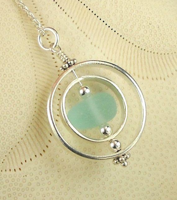 SPINNING Genuine Aqua Sea Glass Jewelry by seaglassgems4you, $65.00