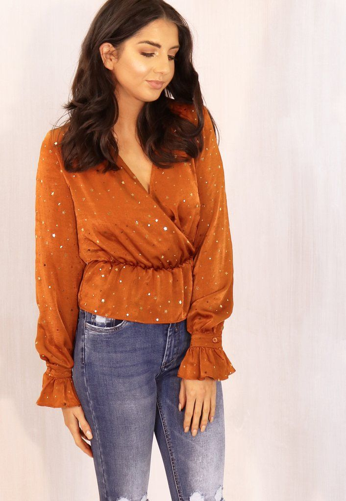 Star & Moon Wrap Over V Neck Blouse with Elasticated Waist in Tan & Gold
