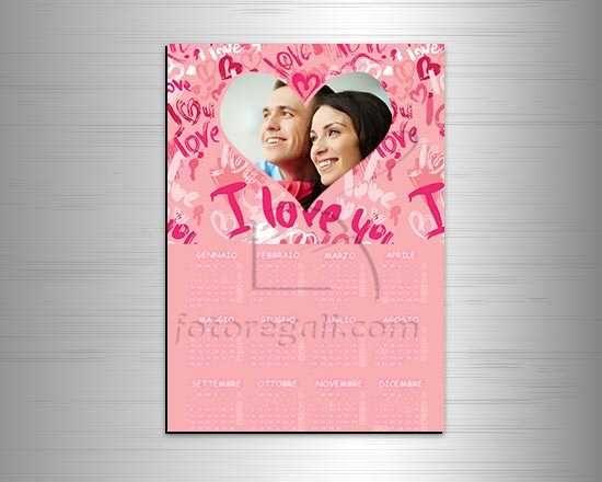 Calendario magnetico con grafica rosa