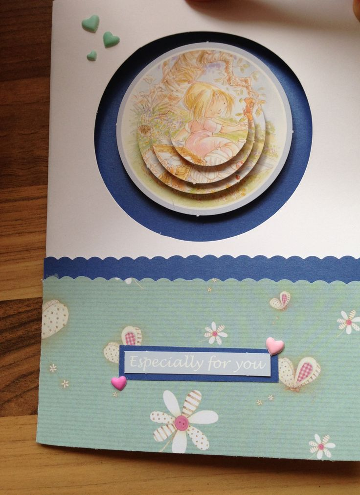 Girls birthday card. Decoupage with aperture card