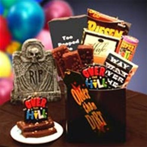 An assortment of gag gifts for a 50th birthday.  See more 50th birthday gag gifts and party ideas at www.one-stop-party-ideas.com